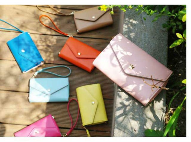 Hot sell 7 Color PU Leather Wallet Crown Smart Pouch Mobile phone case/bag Card Holder Change Purse Free Shipping
