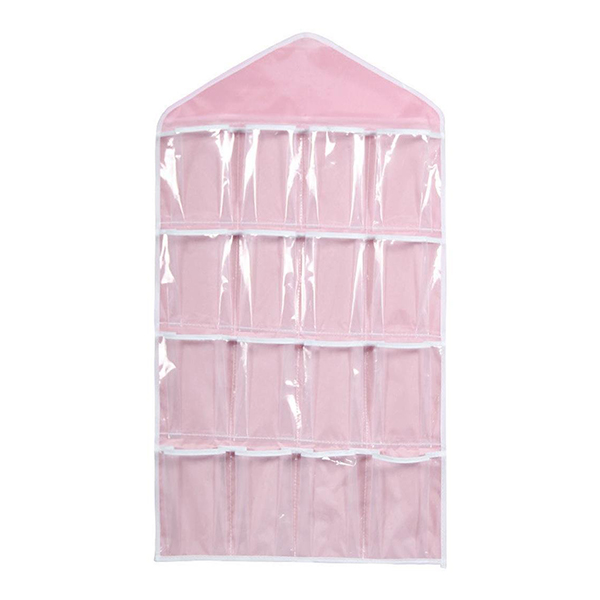 16 Pockets Clear Over Door Hanging Bag Shoe Rack Hanger Underwear Socks Bra Closet Storage Tidy Organizer(China (Mainland))