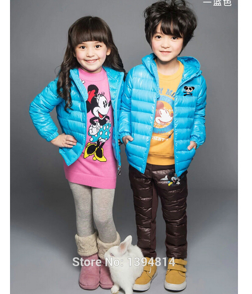 2015 Winter Kids Boys Down Jacket For Girl Winter Warm Down Coat Hooded Cartoon Children's Winter Clothing Child Outerwear Coat