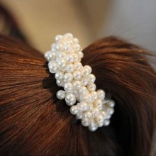 Buy 1 PC New Fashion Women Lady Pearls Beads Elastic Hair Rope Scrunchie Ponytail Holder Hair Band Accessories for $1.07 in AliExpress store