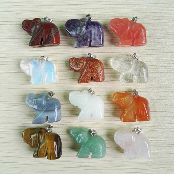 Natural carved stone pendants Charms elephant pendants fit Necklaces jewelry making 12pcs/lot wholesale lot free shipping(China (Mainland))