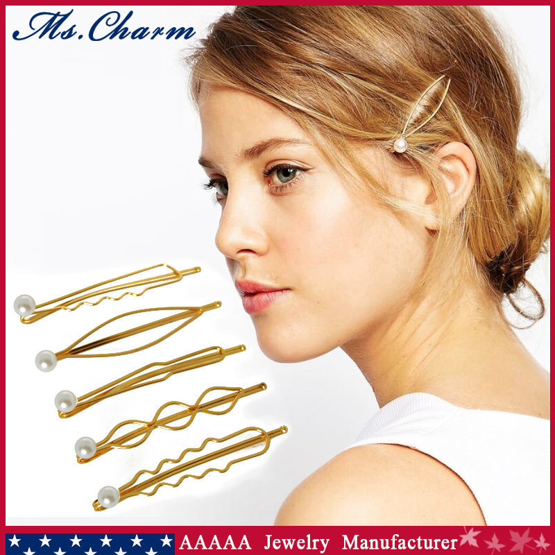 5 Pcs/Set Pearl Hair Accessories Pins And Clips 18k Gold Plated For Women Metal Ornaments Girls Barrettes Jewlery Wholesale(China (Mainland))