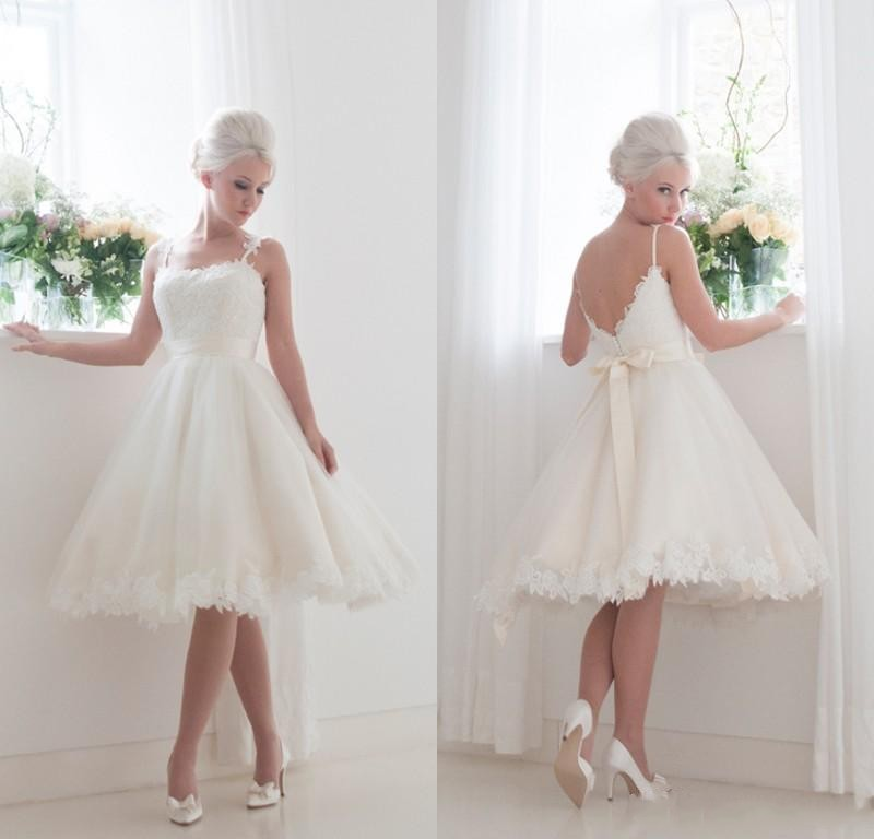 2015 hot sale summer beach lace backless short wedding for Backless wedding dresses for sale
