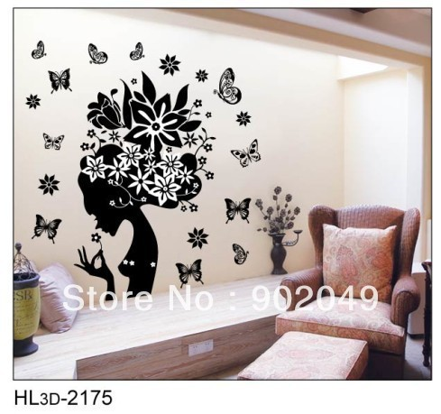 50x70cm Hot sale free shipping removable wall stickers butterfly sexy lady wall decal stickers KW- HL3d-2175