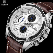 Authentic MEGIR quartz male watches Genuine Leather watches racing men Students game Run Chronograph Watch male glow hands(China (Mainland))