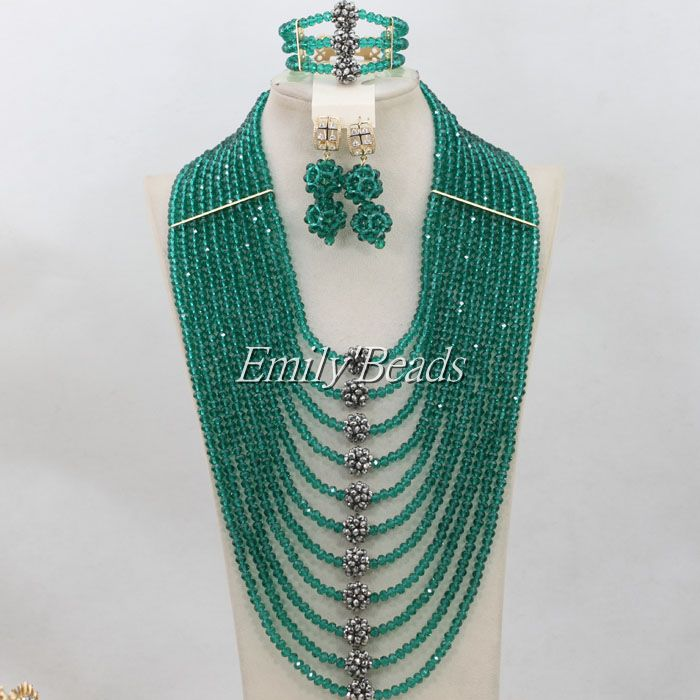 Teal Green African Crystal Beads Necklace Jewelry Set Nigerian Wedding Indian Bridal Necklaces Set Free Shipping AIJ344(China (Mainland))