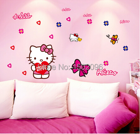 2015 100 New Hello Kitty Wall Stickers For Car Kids Room