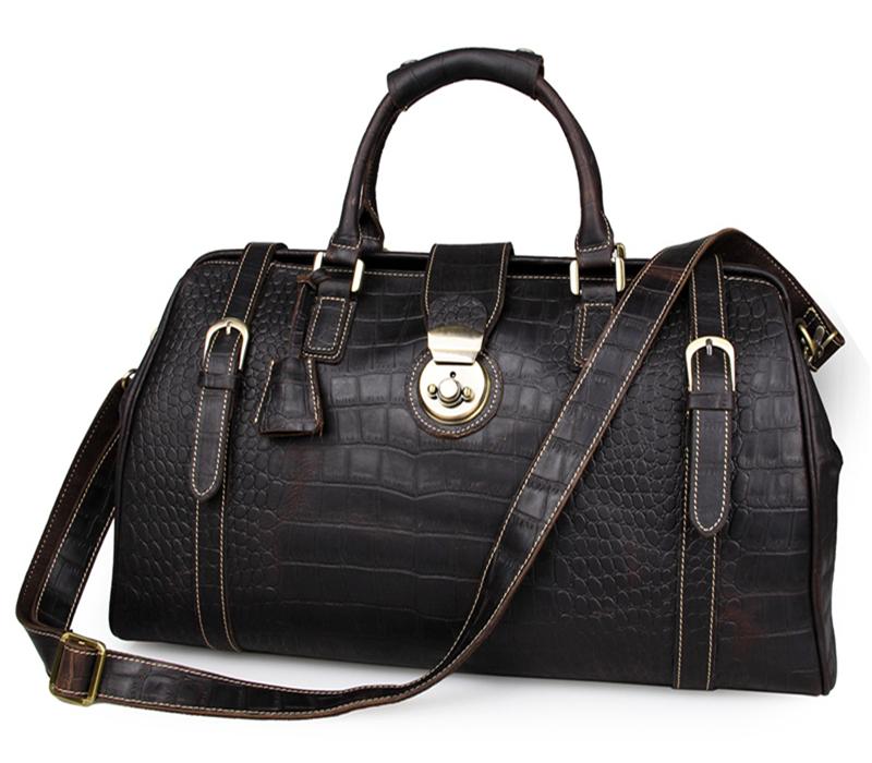 Baigio Men Black Genuine Leather Travel Bag Overnight Luggage Shoulder Duffle Bags<br><br>Aliexpress