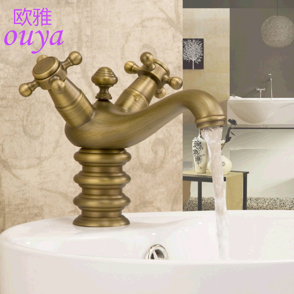 Classical Bathroom Faucet Double Handle sink Mixer Tap Bathroom.Single Hole Antique brass basin faucet.Brushed Tap Art robinet(China (Mainland))