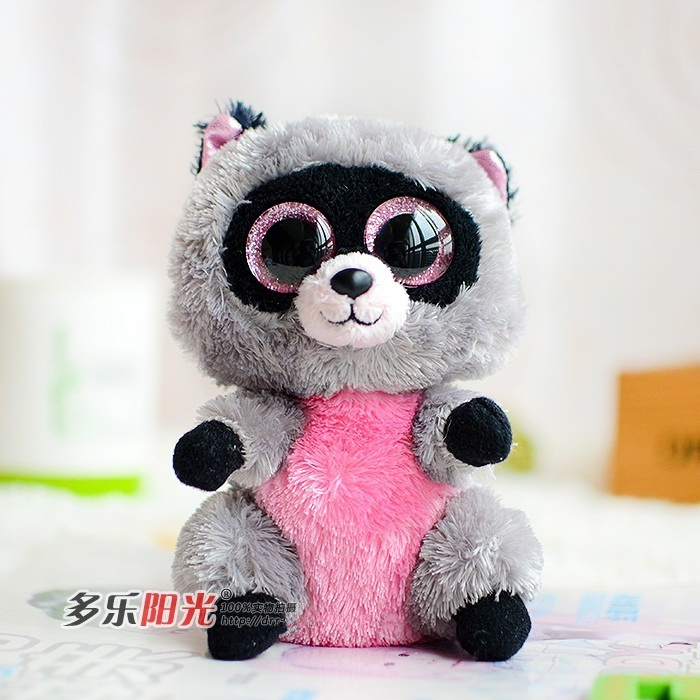 Ty Beanie Boos big eyes 2015 colorful Small Raccoon plush toys doll Lovely Children's cute toys gifts kawaii Stuffed Animals(China (Mainland))