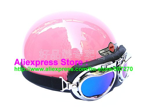 P.99 Fashion Half Bol Vespa Cycling Half Face Motorcycle Pink Helmet Casco Casque & Color Goggles Adults M , L , XL(China (Mainland))