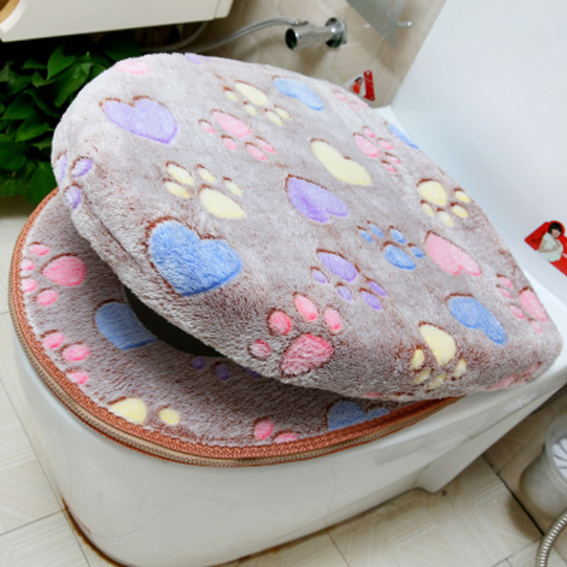 Thick Coral velvet luxury toilet Seat Cover Set soft Warm Zipper Two-piece toilet Case Waterproof Bathroom WC Potty Cover SWZ051(China (Mainland))