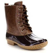 Mujeres del cuero del Faux de dos tonos Lace Up Low Combat Heel estilo moda a prueba de agua pato botas de invierno botas de nieve botines botines zapatos(China (Mainland))