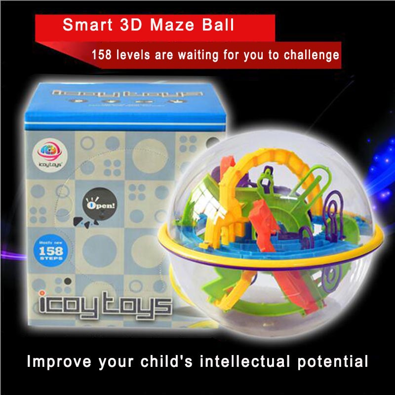158 Steps Kids Adult Magical Intellect Balance Logic Ability Puzzle Ball Smart 3D Maze Ball Educational Games Intelligence Toys(China (Mainland))
