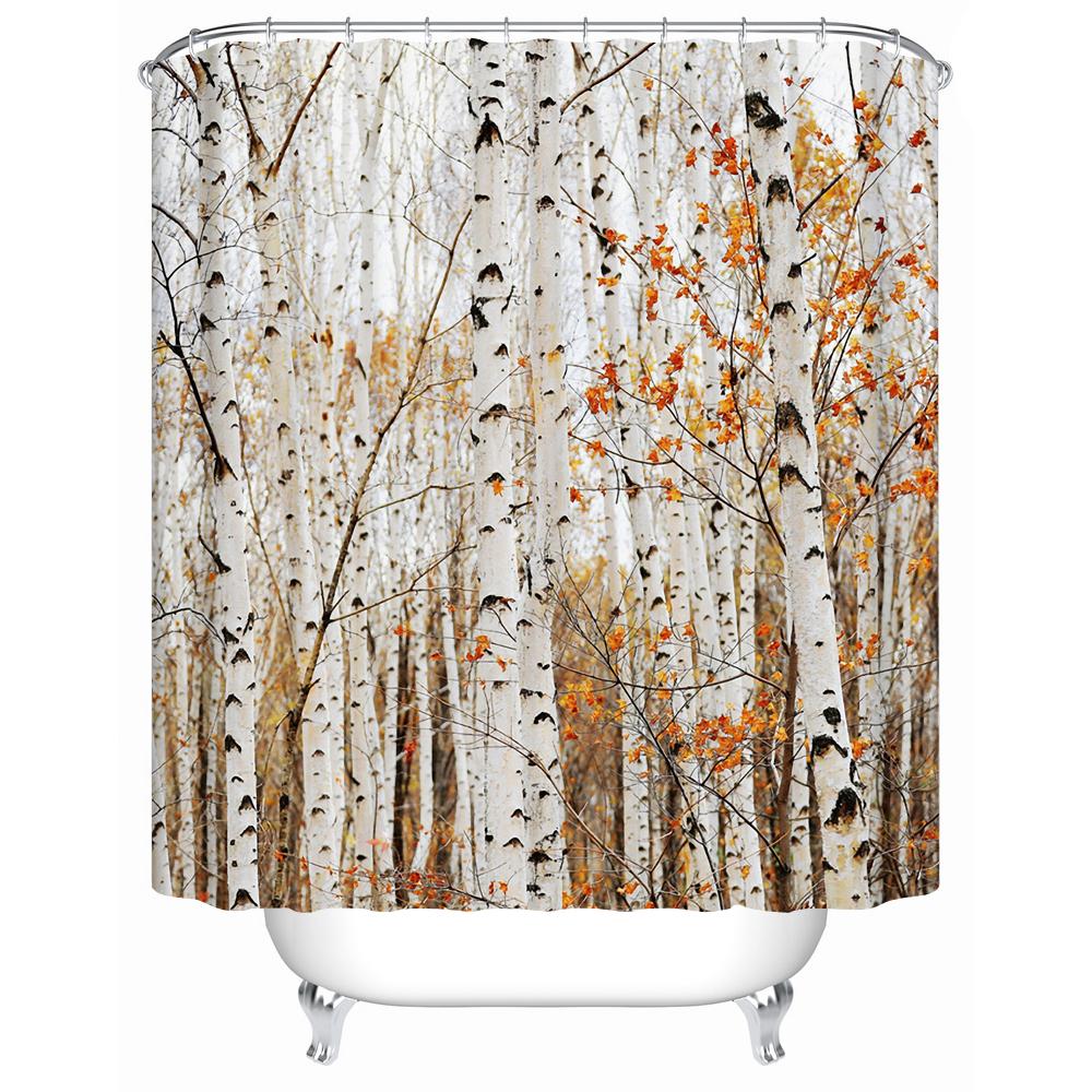 New Forest Trees Eco-Friendly Waterproof Shower Curtains Bathroom Curtain Custom Creative Bath Curtains for Home Decor(China (Mainland))