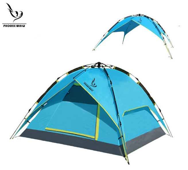 Free Shipping Double Layer 4 Person Family Party Beach Winter Fishing Hiking Outdoor Inflatable Automatic Camping Tent(China (Mainland))