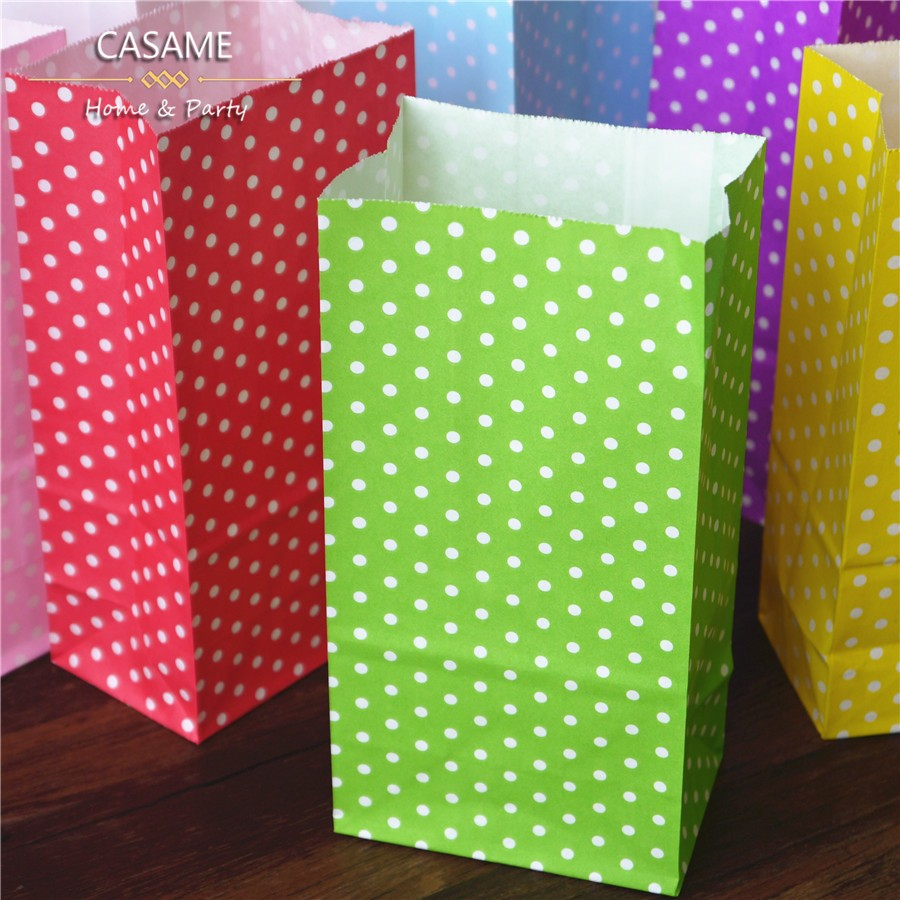 1000pcs Favor Bag birthday Stand up Colorful Polka Dots Paper Bags wholesale candy Bag Open Top Gift Packing Bags Treat craft(China (Mainland))