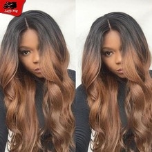 Best Ombre Hair Wave Wigs Virgin Human Hair Wigs Two Tone Middle Part Lace Front Wig Glueless Full Lace Wigs for Black Women