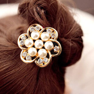 Sunshine elegant rhinestone and large pearl headband hair rope for women F013
