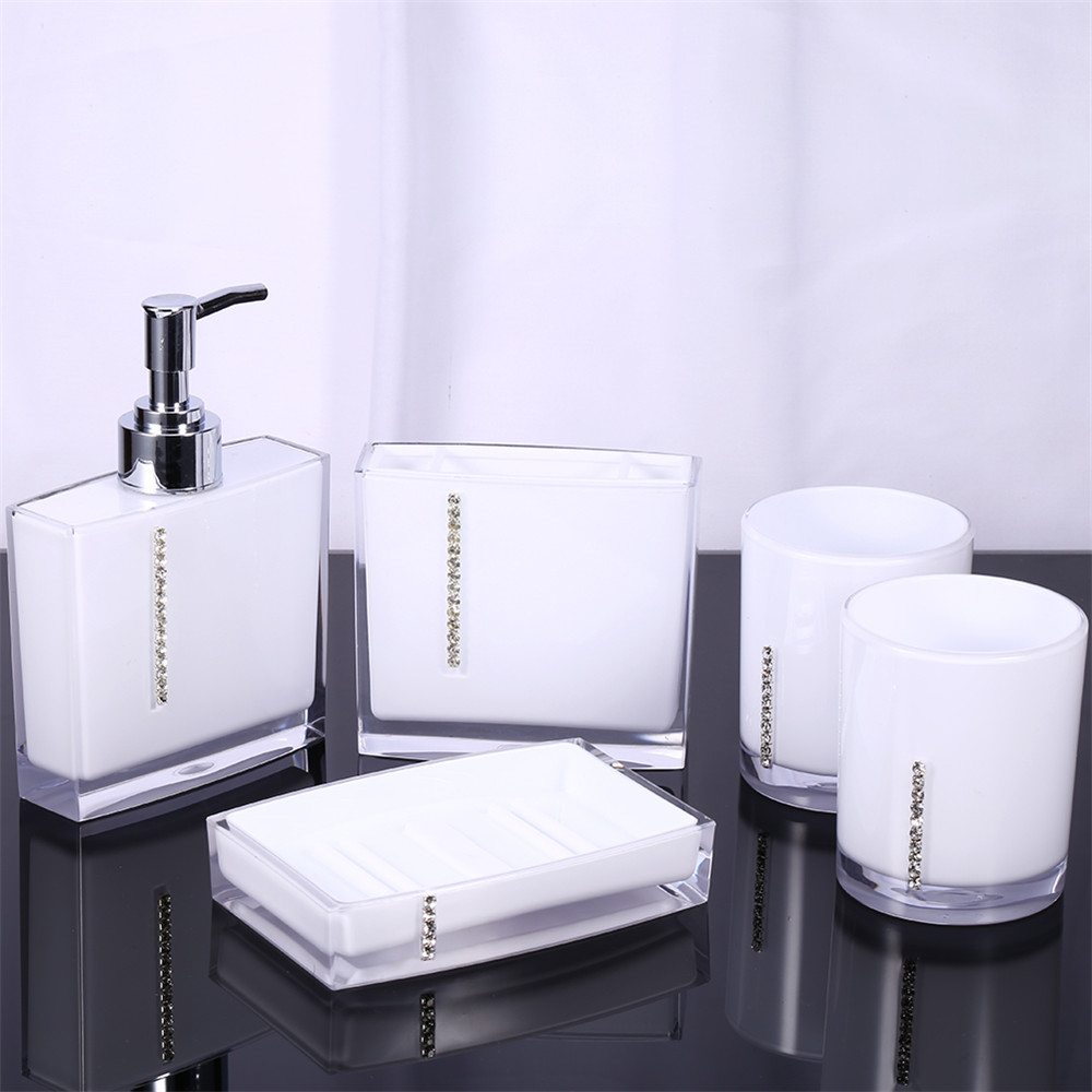 5pcs set bathroom supplies wash set family bathroom for Bathroom accessories acrylic