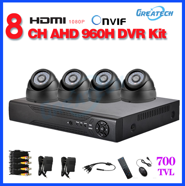 cctv 8channel 960h AHD dvr 4pcs 700TVL dome camera kit home video Surveillance system 8ch with hdmi audio PTZ mobile phone view<br><br>Aliexpress