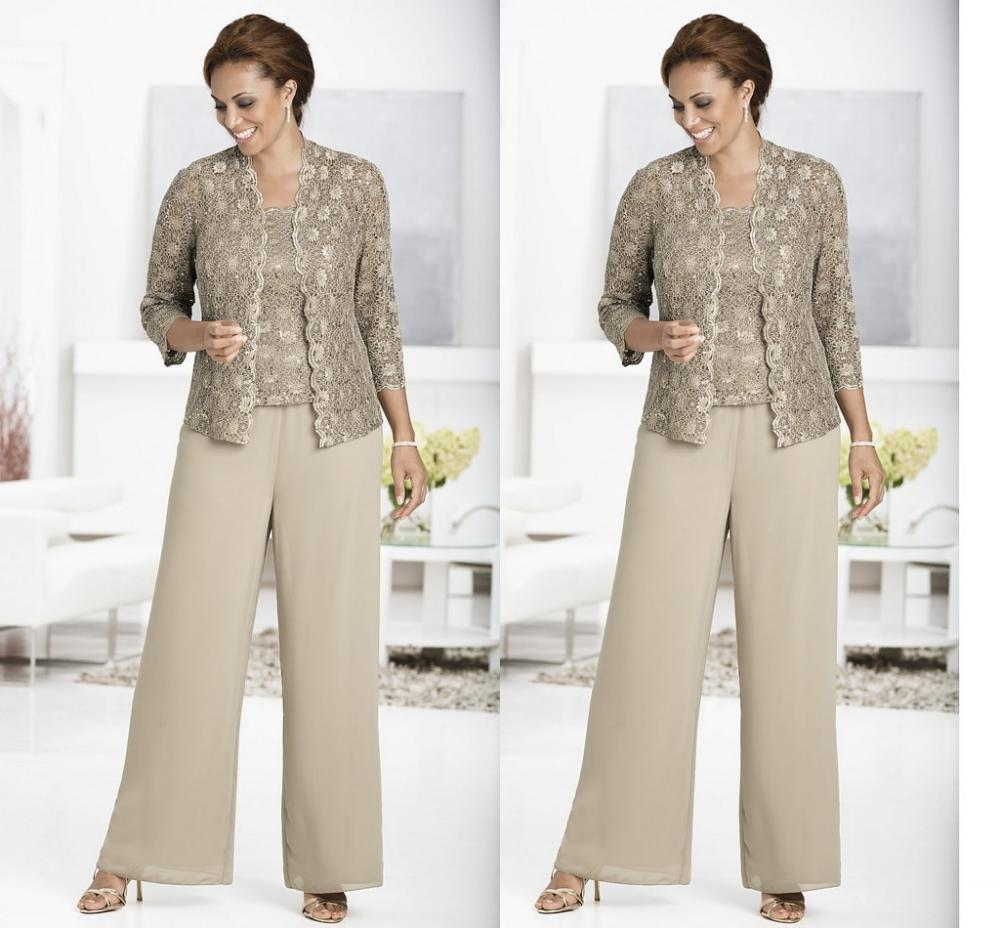 Three-piece Pant Set Ankle-Length Lace and Chiffon Mother of the Bride Pant Suits with jacket Queen Anne Neckline 2014(China (Mainland))