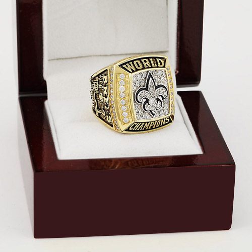 Solid 2009 New Orleans Saints Super Bowl Football Championship Ring Size 10-13 With High Quality Wooden Box Best Fans Gift(China (Mainland))