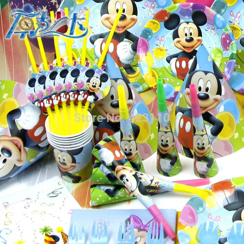 Mickey mouse 6 boy baby kids happy birthday party decoration kits tableware plate cup hat loot bag straw napkin supplies(China (Mainland))
