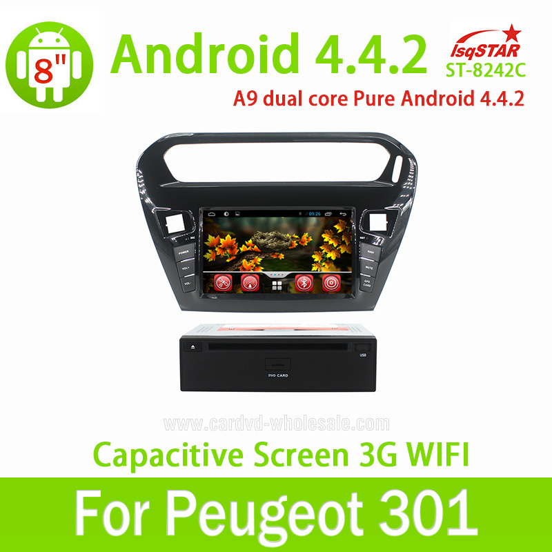 2 din 8 inch Pure android 4.4.2 Car DVD player gps for Peugeot 301/Citroen Elysee with 3G wifi BT Ipod Radio Auxin SWC USB TV(China (Mainland))