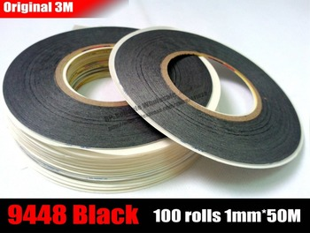 Wholesale! 100 Rolls (1mm*50M) 3M 9448AB Black Double Sided Acrylic Adhesive Tissue Tape for iphone ipad HTC Screen Glass LCD