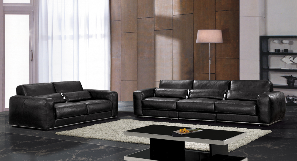 Hot sale modern chesterfield genuine leather living room sofa set furniture black full leather feather inside.(China (Mainland))