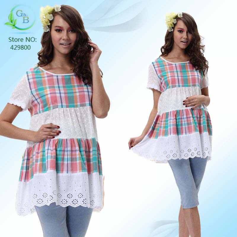 2016 News Clothes For Pregnant Women Summer Plus Size Loose Short Sleeve Plaid Cotton Mini Dress Top Quality Maternity Clothing(China (Mainland))