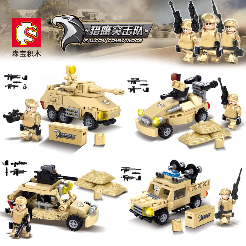 HOT World War Falcon Commandos Army Soldiers Minifigures Jeep Tank Chariot Weapon Building Blocks Compatible Legoe Military - COASTLINE TOY store