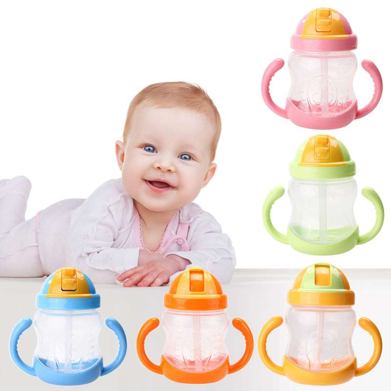 1Pcs New Double Handle Baby Trainer Cup Straw Type Cup Baby Kids Children Feeding Drinking Water Cup 280ml