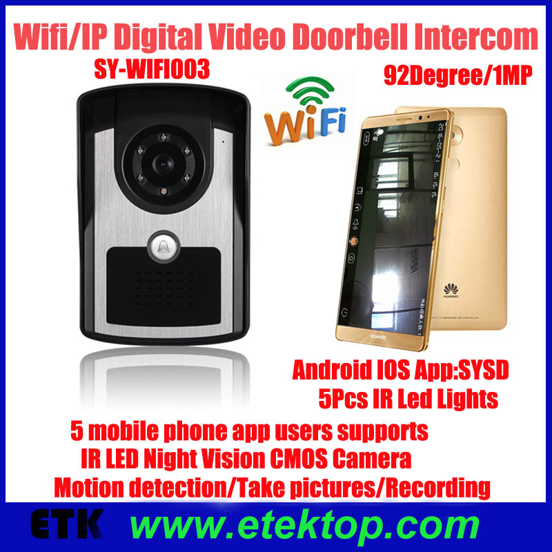 WIFI IP video doorphone wireless video doorbell intercom ,support Android and IOS operation system,support motion detect alarm(China (Mainland))