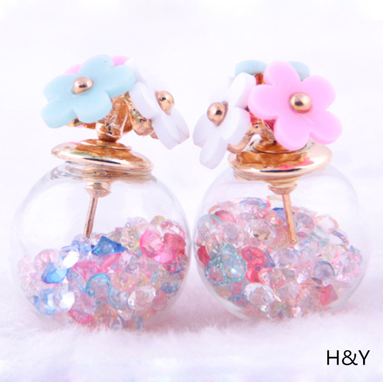 2015 summer exquisite female fashion earrings rose earrings hourglass H-1001(China (Mainland))