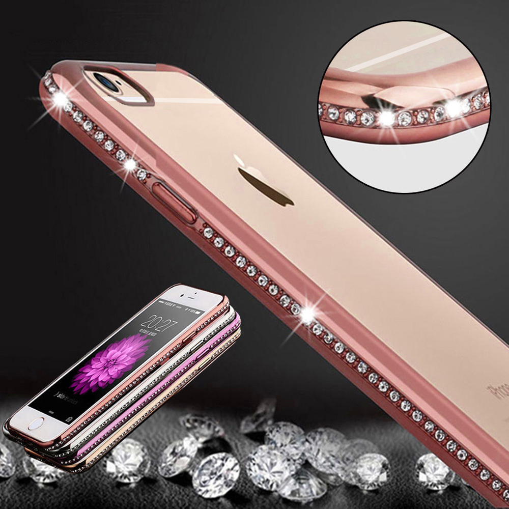 Luxury Bling Diamond Frame Transparent TPU Case For Iphone 6 6S 4.7/ Plus 5.5 Soft Silicone Cover PC Plating Edge Rose Gold Capa(China (Mainland))