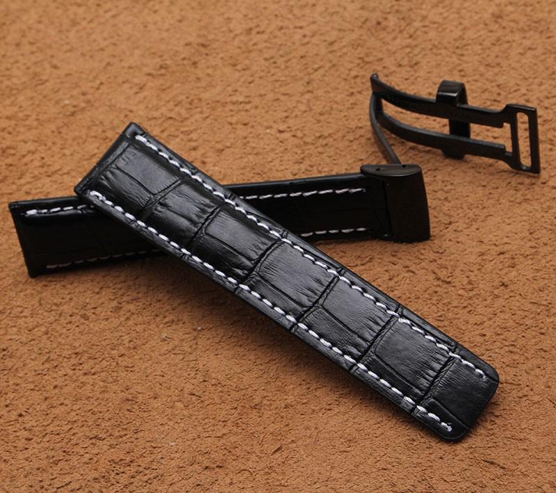 Высокое Качество Черный Крокодил зерна Кожаный Ремешок Для Часов С Черный Нержавеющей стали Пряжка Часы Аксессуары 22 мм 24 мм