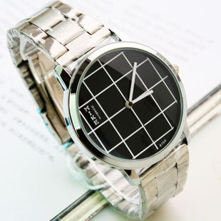 Free shipping,New fashion leisure men grid steel strip table, Guartz movement stainl ess steel(China (Mainland))