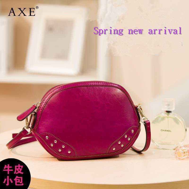 Axe for spring and summer women's cowhide messenger bag handbag small bag mini shell bag brief one shoulder women's small(China (Mainland))