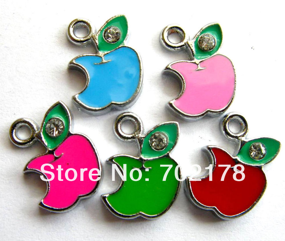wholesales 50pcs mix color zinc alloy Rhinestone 17x12mm DIY Accessories Apple Hang Pendant Charm Fit Diy Phone free shipping(China (Mainland))