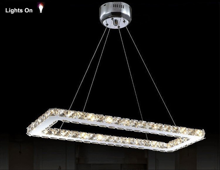 Livraison gratuite rectangle design moderne led lustre en for Lustre de cuisine moderne