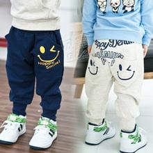 2014 autumn and winter smiley boys clothing girls clothing child fleece harem pants long trousers kz-1390(China (Mainland))