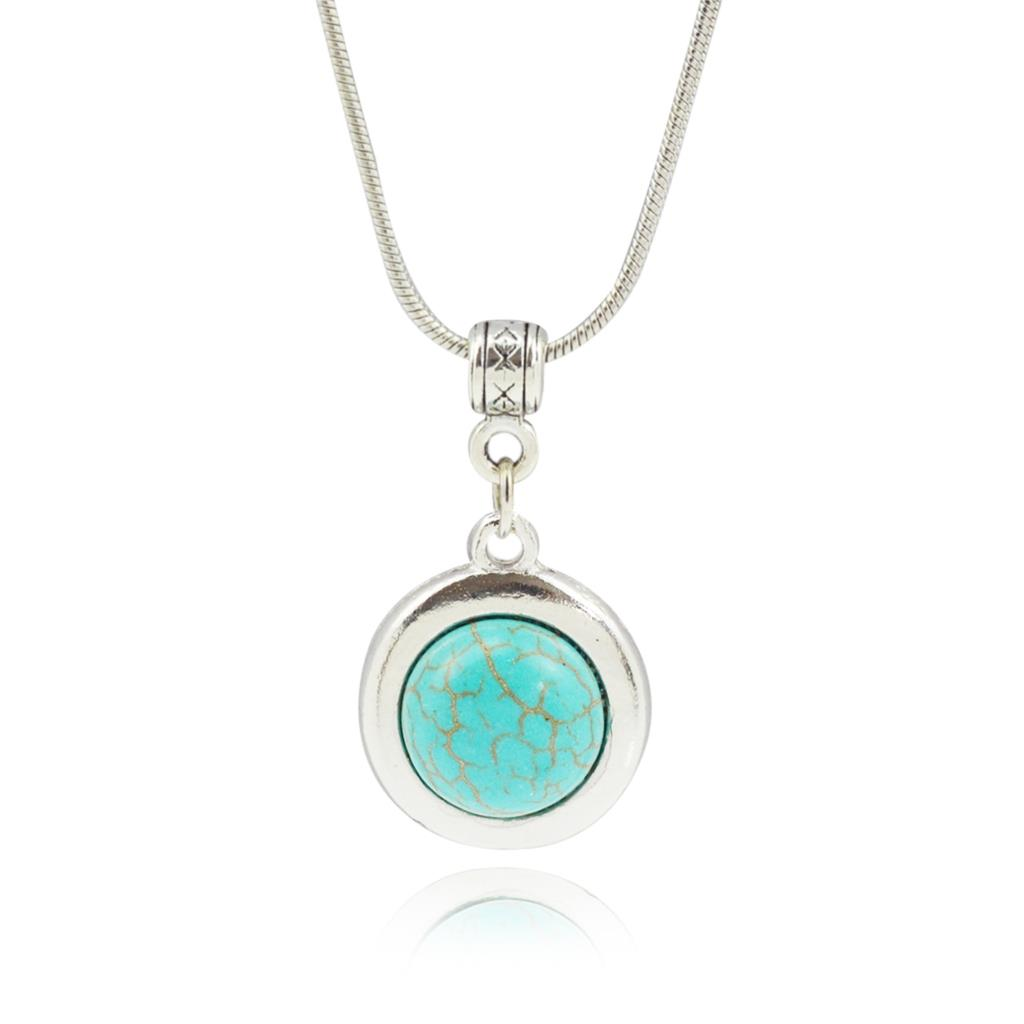 Fashion Turquoise Chain Necklaces Pendants For Women Summer Style Fine Jewelry Vintage Silver Plated Collares for