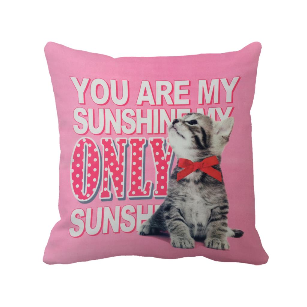 cute cat with letter you are my sunshine printed home decorative animal cushion cover vintage throw