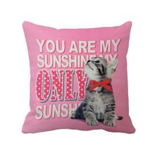 Cute cat with letter printed  throw pillow case for sofa