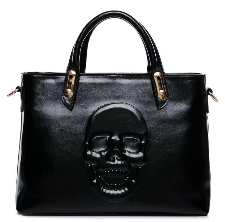 2015 women's skull handbag fashion messenger bag handbag genuine leather bag waxing oil high quality known brands ladies tote(China (Mainland))