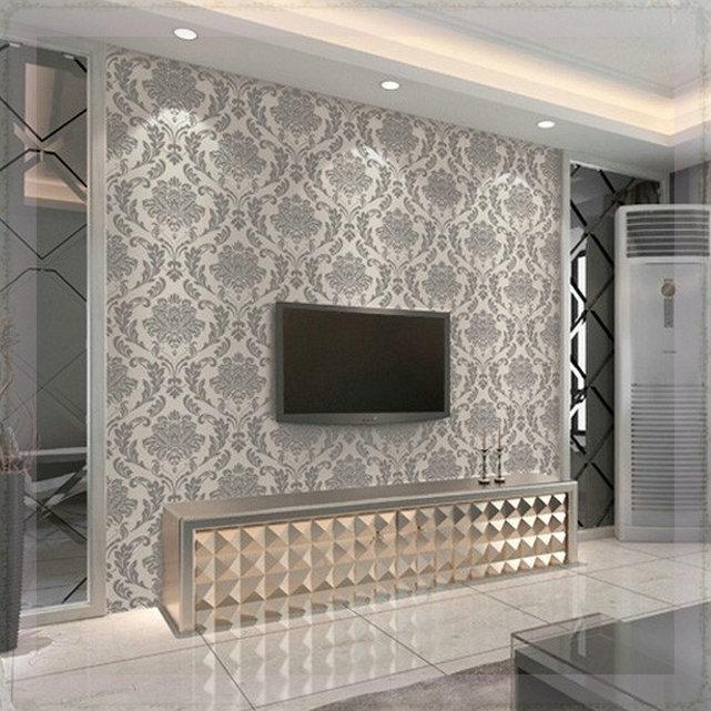Texture flocking damask wallpaper roll modern fasgion for 3d waterproof wallpaper