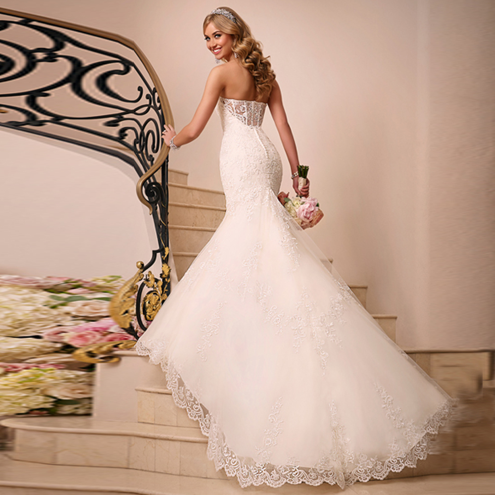 2015 hot beautiful custom made appliques and lace mermaid for Custom mermaid wedding dress
