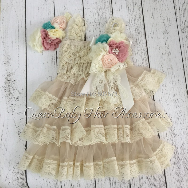 5sets/lot  Petti  Lace Dresses  Matching  Vintage Inspired  Headband and  Broche Clip<br><br>Aliexpress